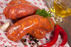 raw italian sausage - stock photo