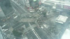 TOKYO - TIMELAPSE Snow Shibuya Crossing sky view Stock Footage