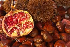 chestnuts and pomegranate - stock photo