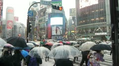 TOKYO : Crowd in Snow at Shibuya Crossing Stock Footage