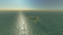 Heart-shaped island in the sea Stock Footage