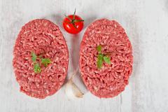 raw hamburger - stock photo
