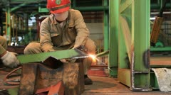 Industrial worker cutting steel Stock Footage