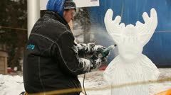Ice sculpture  carving Stock Footage