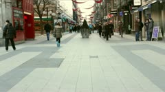 Crowd in Stockholm in Winter near Sergelstorg Stock Footage