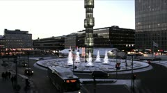 Sergelstorg Square on Winter Evening Timelapse Stock Footage