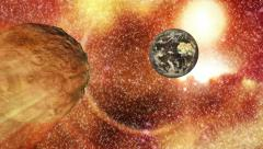 Asteroid - earth - space - stock footage