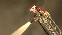 Smoke and unmanned  aerial ladder spraying water Stock Footage