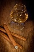 whisky and cigars - stock photo