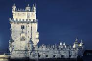 Famous tower of belem by night Stock Photos