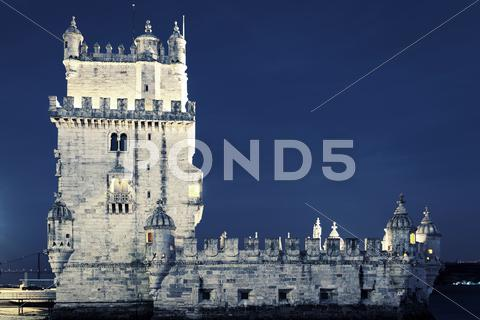 Stock photo of famous tower of belem by night