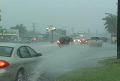 Steet Flooding Cars Stock Footage