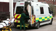 Ambulance Patient on trolley - stock footage