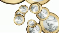 Swirling euros animation Stock Footage