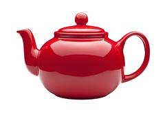 red teapot with a clipping path - stock photo