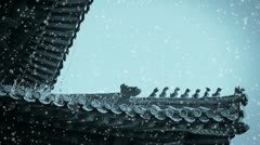 Weeds grass & sculpture on roof eaves in winter snow. Stock Footage
