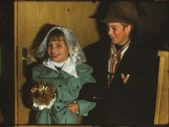 Vintage 8 mm film: Children play wedding, 1960s Stock Footage