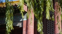 Willow shaking in wind at the Forbidden City.Chinese ancient buildings. Stock Footage