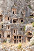 ancient tombs in old town myra - stock photo
