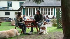 People with dogs outside country pub Stock Footage