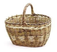 basket in wattled from willow rods - stock photo