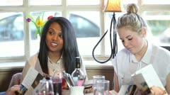 Group of diners and waitress Stock Footage