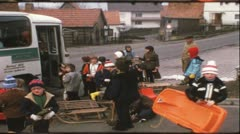 Vintage 8 mm film: Schoolbus, Germany, 1960s Stock Footage