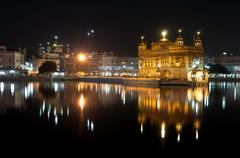 Night view of amritsar golden temple, india Stock Photos