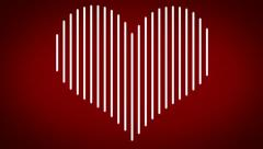 White heart revealing and disappearing on red background loop Stock Footage