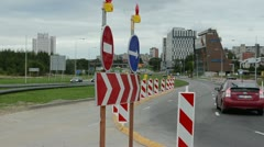 Direction road signs end roundabout road construction car go Stock Footage