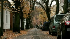 Cute little street in a German village with orange leafs on the trees Stock Footage