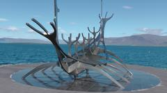 Viking ship sculpture Stock Photos