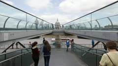 Time lapse of Millennium Bridge and St.Pauls London - stock footage