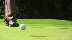 Golf Putt Close up depth of field Stock Footage