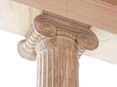 Capital of Greek neoclassical ionic column Stock Photos