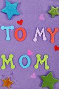 To my mom message art work child Stock Photos