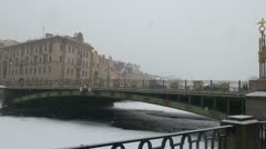 The bridge in St. Petersburg. The winter. Stock Footage