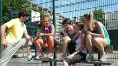 Group of teenagers relaxing Stock Footage