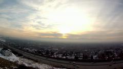 Beautiful Sunset Cityscape snow mountains aerial Stock Footage