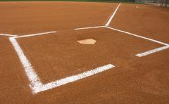 baseball field at home plate - stock photo