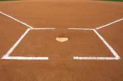 Baseball field at home plate Stock Photos