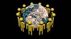 Circle of abstract people around rotating Yuan globe animation - stock footage