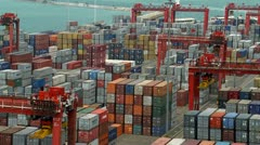 Densely packed container yard zoom out Stock Footage