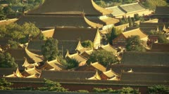 Panoramic of China ancient tower architecture Beijing Forbidden City. Stock Footage