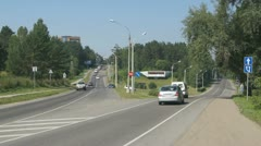 Traffic at the entrance to Divnogorsk Stock Footage