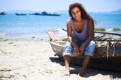 fisherwoman - stock photo