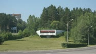 Traffic at the entrance to the town Divnogorsk Stock Footage