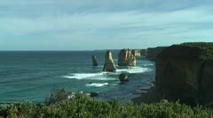 Famous rock formation twelve apostles at the great ocean road,australia Stock Footage