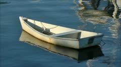 Rowboat at anchor - stock footage