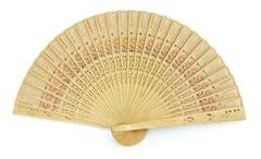 Cardboard fan on a white background Stock Photos